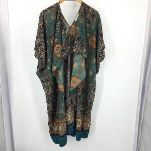 Caramela ruana kimono jacket waterfall mixed print